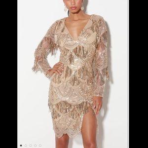 NWOT Lulu's Gold sequin fringe dress